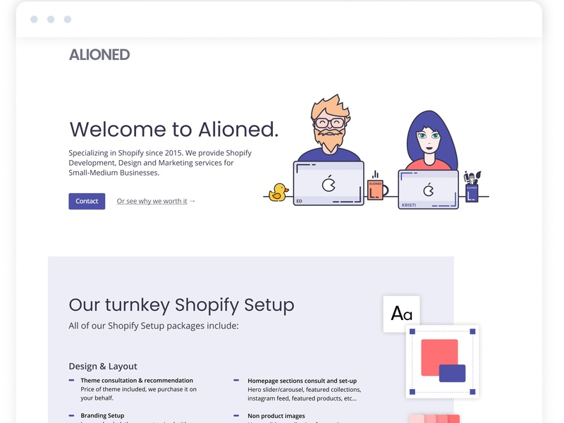 Shopify Setup Page Design for a Marketing and Web Design Agency web developer branding agency landing page web agency marketing agency agency website shopify store static landing page pricing pricing page flat illustration flat  design illustration ui design shopify website web design webdesign