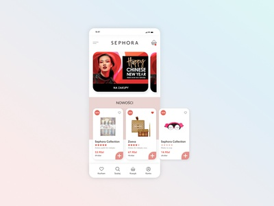 eCommerce Mobile Design Concept for Cosmetics Store (sephora.pl) beauty product cosmetic cosmetics shopify store ecommerce app minimalist minimalistic ux design ui ux landing page ecommerce design ecommerce online shopping online shop ecommerce shop website web design shopify webdesign