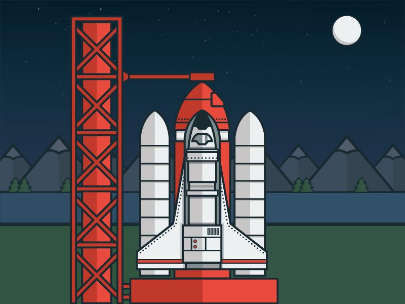 Blast Off! rocket rocketship space spaceship illustration debut