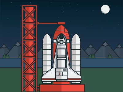 Blast Off! rocket rocketship space spaceship illustration debut