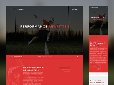 TRUFORMANCE homepage duotone typography minimal sports clean home page landing page web design website