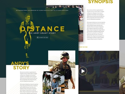 Distance  website film documentary typographic exploded grid one page clean dutone