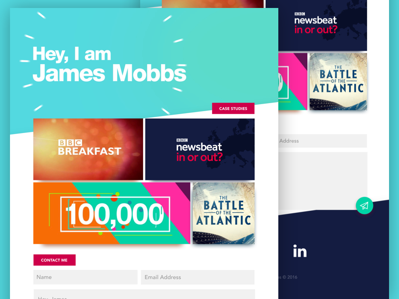 James Mobbs — Portfolio Website typography teal clean motion graphics web design ux ui