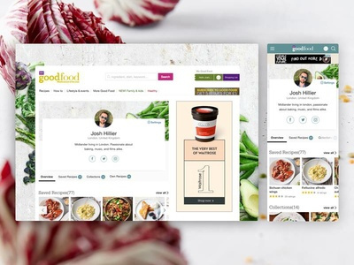 My Good Food refresh profile food desktop. mobile web ux ui layout landing interface digital