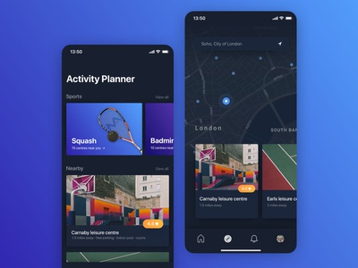 Activity App dark ui gym venue ui sport activity map ios event card app