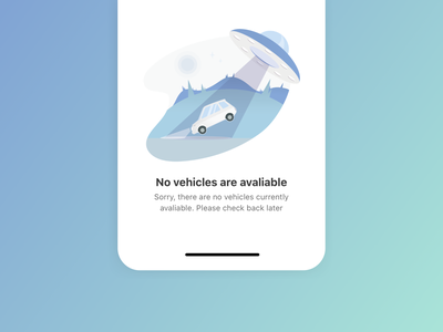 No cars available 🚙🛸 product ufo car app space ship space icon typography landing page vector design ux ui minimal illustration gradient empty state clean card car app