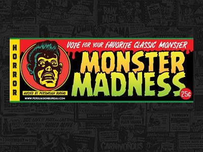 Halloween Monster Madness website design vintage retro game art graphic design illustration social media email design horror comic book monsters halloween