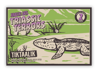 Triassic Terrors Package Art - Tiktaalik package design logo retro illustration branding typography graphic design packaging toy dinosaur