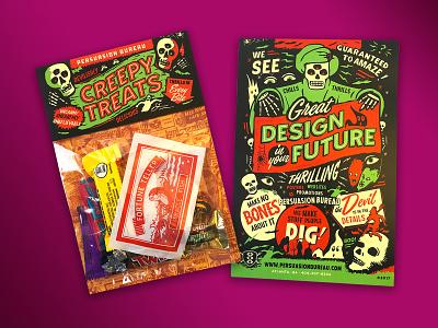 Creepy Treats Halloween Promo self promotion design typography illustration graphic design vintage gigposter poster retro packaging design packaging monster halloween design halloween party halloween