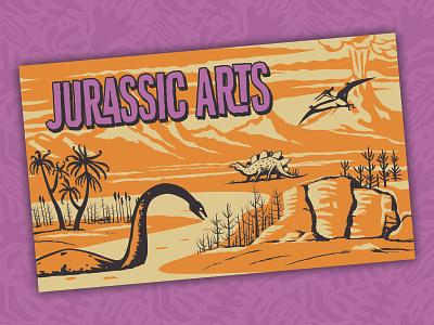 Jurassic Arts Note Card customer ecommerce retro vintage design illustration vector dinosaur print design toys logos branding brand