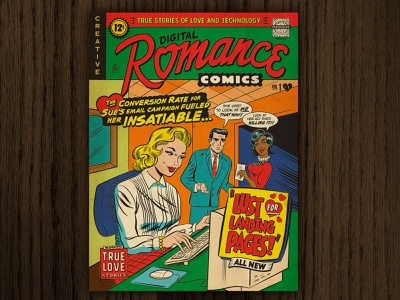 Lust for Landing Pages Poster humor lettering typography graphic design vintage retro illustration parody comic book comic art