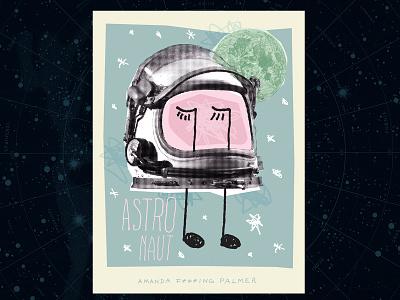 "Poster for Amanda Palmer's song ""Astronaut"" graphic design gig poster vintage retro handlettering collage illustration poster"