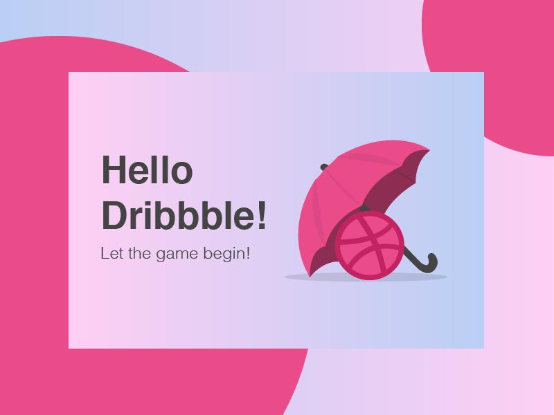 Hello Dribbble! illustrator pink graphic flat vector design illustration debut shot