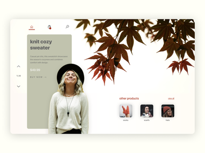 Sweater | Product Landing Page adobe typography creative landingpage website fall sweater illustrator colours ui design figma