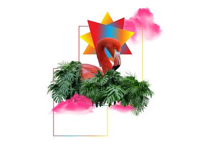 Flamingo Plant adobe vector hello flamingo typography poster photo illustration branding design plant