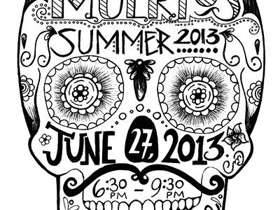 Social Event Invitation - B&W sugar skull black and white