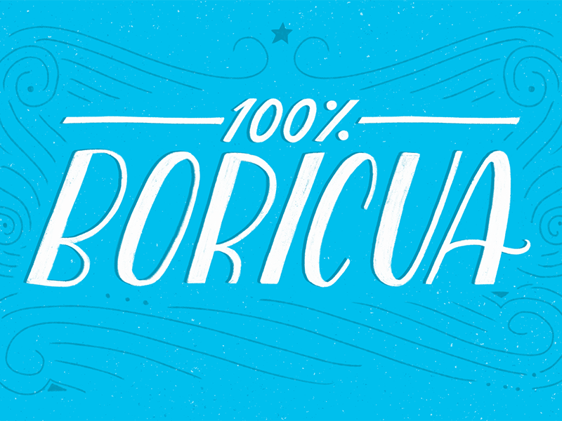 Boricua 100% hand-lettering lettering