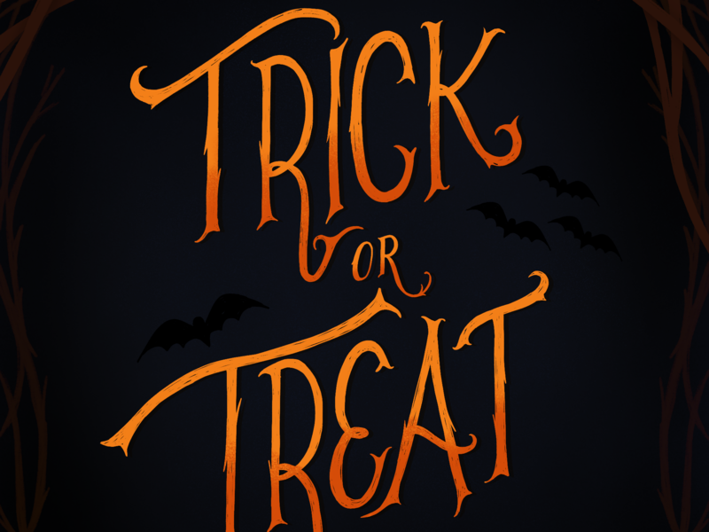 Trick or treat halloween lettering hand-lettering
