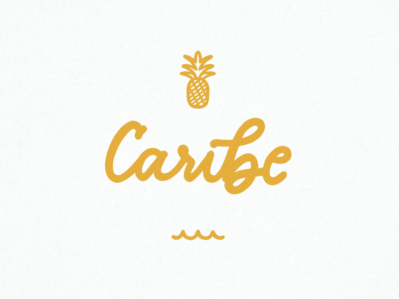 Gold Caribe gold hand-lettering pineapple caribe tropical lettering