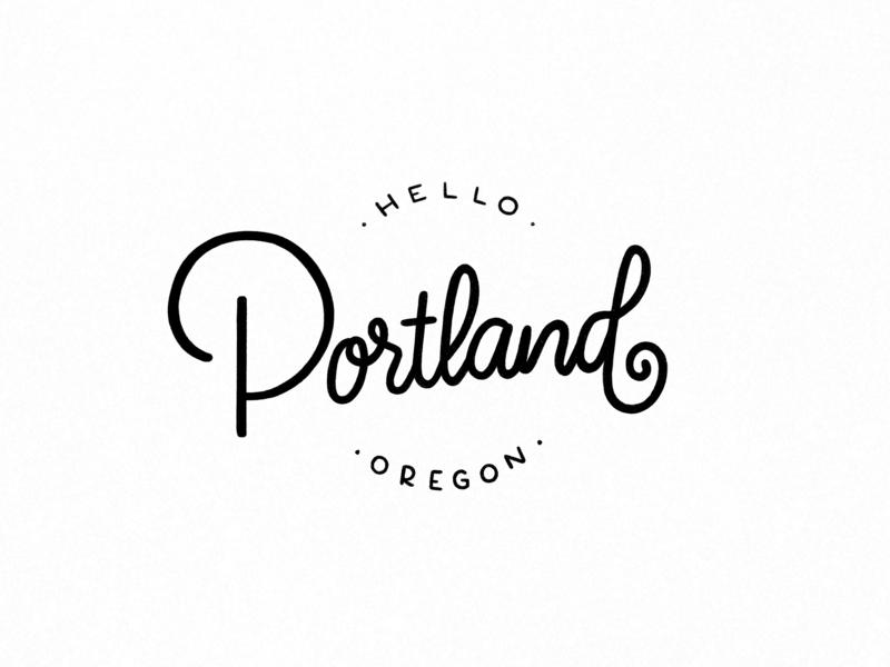 Hello Portland black and white portland hand-lettering lettering