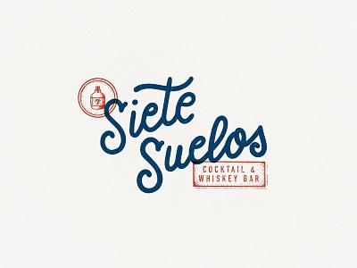 Siete Suelos Cocktail & Whiskey Bar logo creative vintage illustration hand-lettering lettering