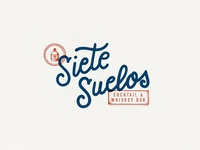 Siete Suelos Cocktail & Whiskey Bar logo creative vintage illustration hand-lettering lettering