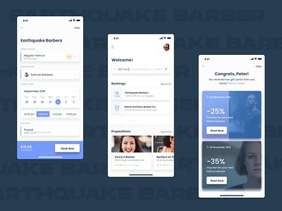 Barbershop booking barber barbershop user interface figmadesign ui figma app design ux design uidesign mobile apps design