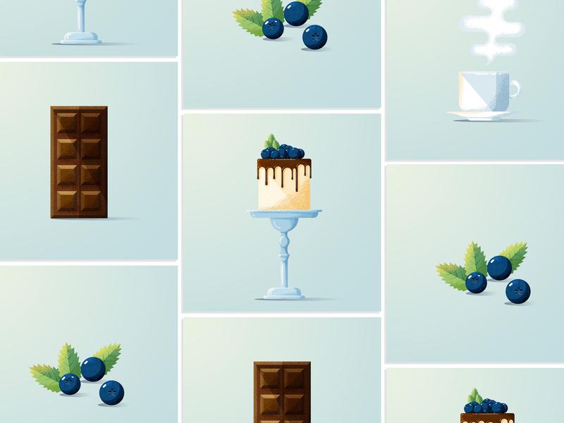 sweets vector flat design illustration