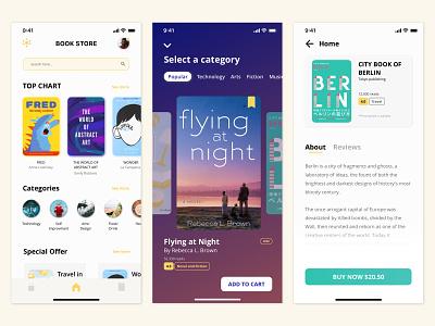 Book store application stores books ux flat minimal ui design app