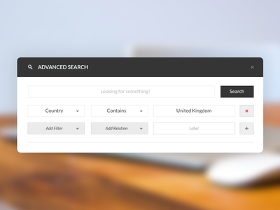 Advanced Search Builder web search ui ux website advanced search analytics app