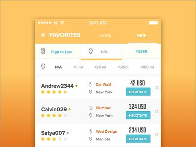 Job Platform - Favorites   Filter  app sort filter design ux ui job job app hire work