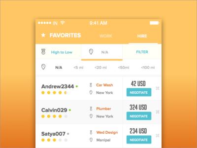 Job Platform - Favorites | Filter  app sort filter design ux ui job job app hire work