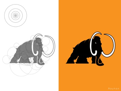 Mammoth golden ratio logo animal animal logo mammoth logodesign creative logo branding flat logo golden ratio