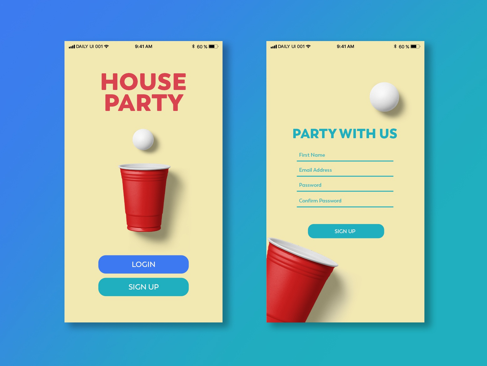 Daily UI | 001 signup party design ui simple minimal clean 001 dailyui