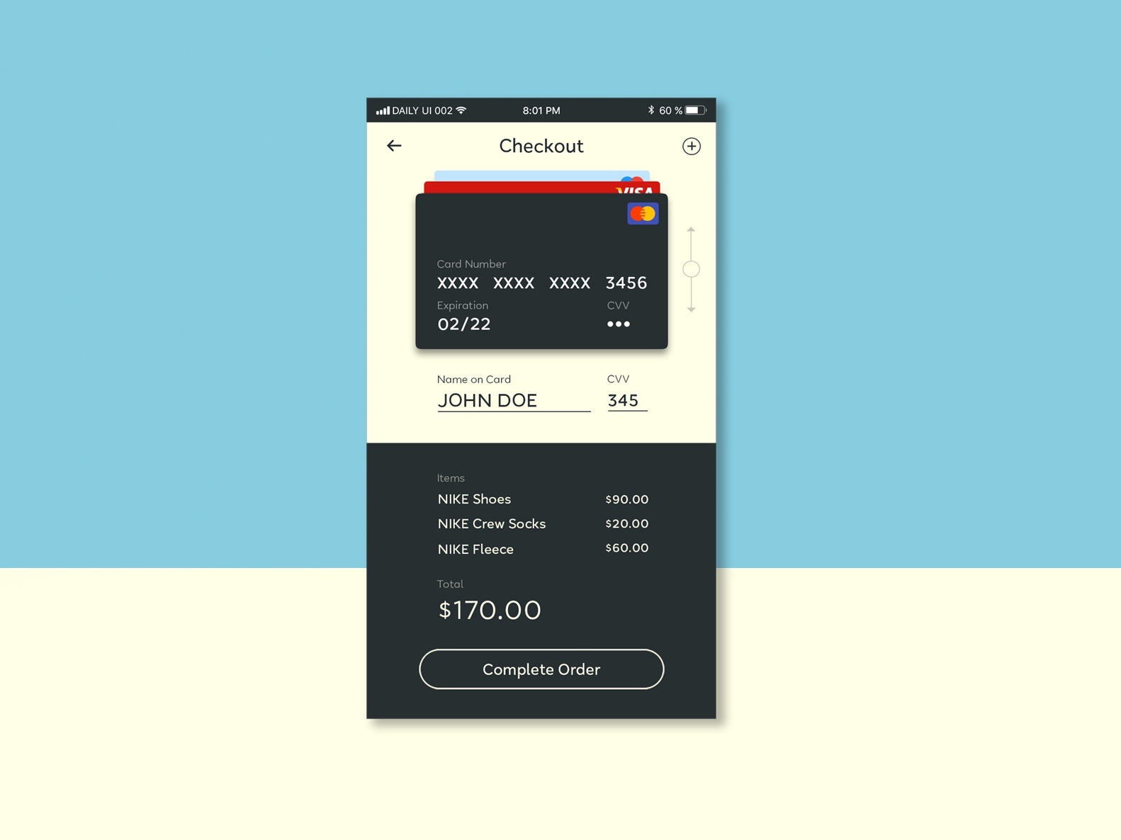 Daily UI | 002 ui credit card concept simple minimal clean design form checkout dailyui