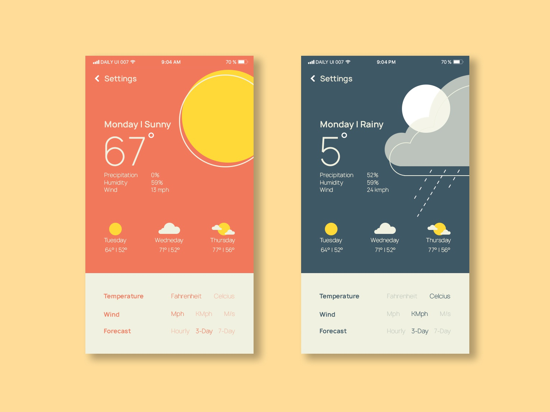 Daily UI | 007 fun weather ux app concept ui simple minimal clean design dailyui