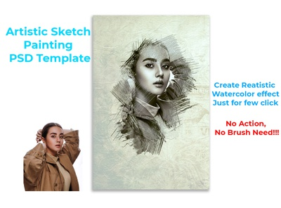 Artistic Sketch Painting PSD Template.