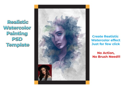 Realistic Watercolor Painting PSD Template
