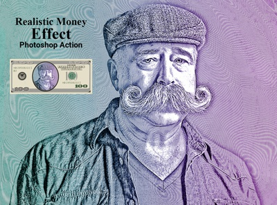 Realistic Money Effect  Photoshop Action portrait dutone screen printing gradient poster retouching add-ons photography photo effect photoshop actions pencil drawing realistic pencil sketch laser engraving dollar halftone banknote line effect realistic money effect