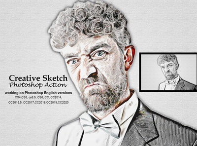 Creative Sketch Photoshop Action template photoshop psd portrait brush action artistic images effect color hand drawing line art outlin drawing sketch portrait pencil sketch action sketch art pencil sketch sketch effect creative sketch