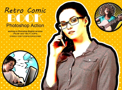 Retro Comic Book Photoshop Action retouching colorful adjustment marvel comic saturation pop retro trendy dark image portrait photography filmatic color palette adobe photoshop photoshop tutorial cartoon art comic bubble pop art halftone