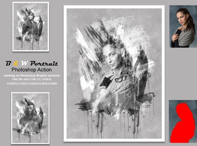 B & W Portrait Photoshop Action ink manipulation professional template portrait brush action artistic images effect color hand drawing drawing watercolor photoshop action watercolor art watercolor effect