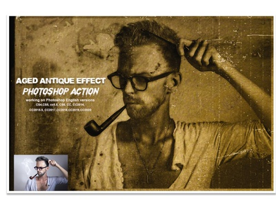 Aged Antique Effect Photoshop Action photoshop action adobe photoshop photoshop tutorial portrait sketch poster painting effect texture generator texture paper stamp effect distressed soft vintage effect retro halftone frame retro photoshop aged antique portrait antique action