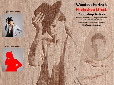 Woodcut Portrait Photo Effect colorful photoshop photo effect photoshop action oil art action acrylic action artist  paint photo manipulation watercolor action oil painting action oil action poster engraved effect woodcut illustration sketch drawing self portrait printing wood effect photoshop