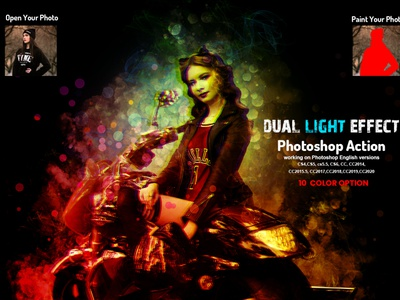 Dual Light Effect Photoshop Action exposure light colorful photoshop photo effect photoshop action multi color photo manipulation double light neon bright vector color art glow arttistic watercolor bokeh light leak color light gel lighting lighting effects dual color