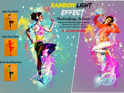 Rainbow Light Effect Photoshop Action photoshop tutorial color action portrait watercolor watercolor effect overlays color effect rainbow color abstract realistic vintage artistic photoshop brushes portrait glow effect diy rainbow lens filter neon light leaks glow
