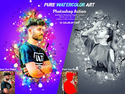Pure Watercolor Art Photoshop Action photoshop action adobe photoshop photoshop tutorial manipulation handpaint shatter action portrait watercolor watercolor portrait vector art abstract watercolor realistic art hand drawn artistic patterns watercolor action watercolor effect photoshop brushes watercolor coloring drawing