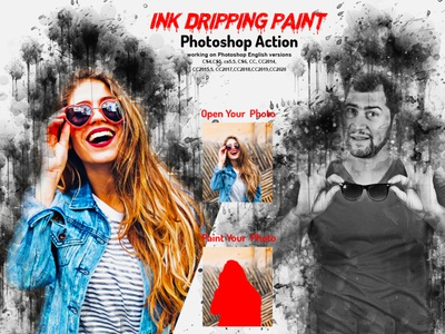Ink Dripping Paint Photoshop Action adobe photoshop