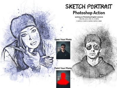 Sketch Portrait Photoshop Action V-2 photoshop