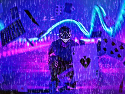Rain Cyberpunk Photoshop Action portrait